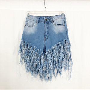 Jessy Boutique High Rise Fringe Hem Shorts, Size S